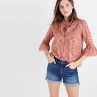 Madewell Gingham Bell Sleeve Shirt Crimson