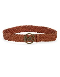 Michael Michael Kors Signature Accented Braided Leather Belt Brown