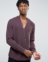 Asos Viscose Shirt With V Neck In Fudge And In Regular Fit Fudge Purple