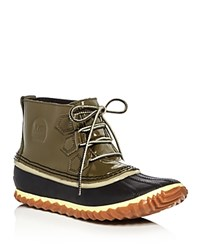 Sorel Out N About Waterproof Patent Leather Lace Up Duck Booties Nori Green