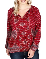Lucky Brand Plus Printed Long Sleeve Blouse Red