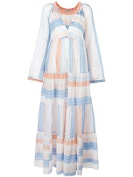 Stella Mccartney Tiered Striped Maxi Dress Orange