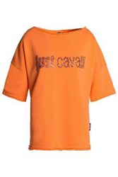 Just Cavalli Crystal Embellished French Cotton Blend Terry Top Orange