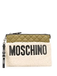 Moschino Quilted Top Clutch Bag Neutrals