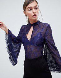 Forever Unique Lace Bodysuit With Fluted Sleeve Navy