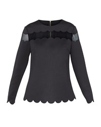 Ted Baker Cindii Scallop Detail Top Black