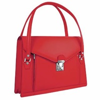 L.A.P.A. Double Compartment Calf Leather Women's Briefcase Ruby