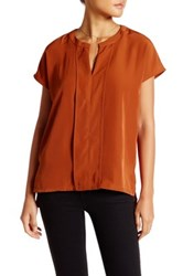 Harlowe And Graham Cap Sleeve Front Panel Woven Blouse Orange