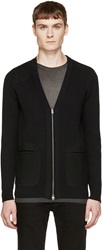 Diesel Black Gold Black Rib Knit Cardigan