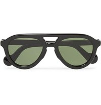 Moncler Aviator Style Acetate Polarised Sunglasses Black