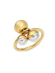 Majorica 18K Yellow Gold And Pearl Tea Cup Ring