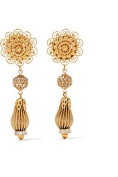 Dolce And Gabbana Gold Tone Swarovski Crystal Clip Earrings One Size