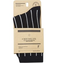 Chocoolate Animal Badge Cotton Socks Black
