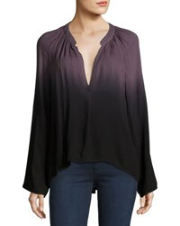 Young Fabulous And Broke Kimbra Ombre V Neck Top Black Gray