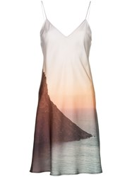 Esteban Cortazar Sunset Print Slip Dress Multicoloured