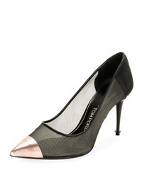 Tom Ford Pointed Mixed Mesh 85Mm Pump Black Pink