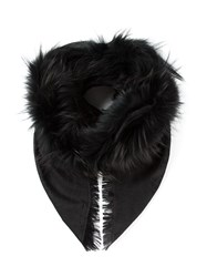 Gucci Fur Trim Shawl Black