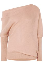 Tom Ford Off The Shoulder Mohair And Silk Blend Sweater Blush