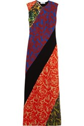 Jonathan Saunders Renee Sequined Floral Print Satin Crepe Maxi Dress Brick