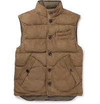 Ralph Lauren Purple Label Reversible Quilted Suede And Shell Down Gilet Brown