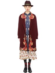 Antonio Marras Floral Embroidery Wool Blend Velour Coat