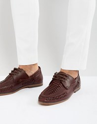 Asos Lace Up Shoes In Woven Burgundy Leather Red