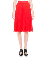Givenchy Pleated Georgette Midi Skirt Red