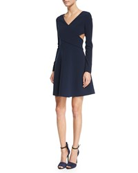 Halston Heritage Long Sleeve Crisscross Fit And Flare Dress Size 4 Navy