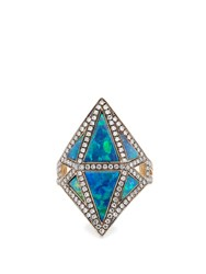 Noor Fares Diamond Sapphire Opal And Grey Gold Ring Blue