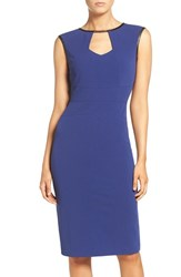 Eci Women's Keyhole Neck Midi Sheath Dress