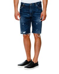 Dolce And Gabbana Distressed Denim Shorts Dark Blue