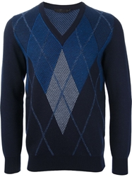 Alexander Mcqueen Argyle Sweater Blue