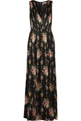 Alice Olivia Ava Lace Paneled Floral Print Silk Maxi Dress Black