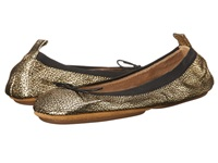 Yosi Samra Sandrine Crackled Metallic Fold Up Flat With Bow Pure Gold Women's Flat Shoes