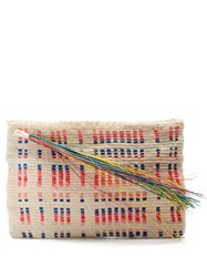 Sophie Anderson Lia Woven Toquilla Clutch White Pink