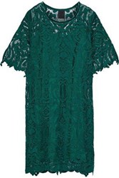 Anna Sui Woman Velvet Trimmed Guipure Lace Dress Forest Green