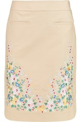 Vilshenko Embroidered Cotton Skirt Ecru