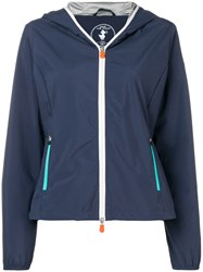 Save The Duck Hooded Zipped Up Jacket Blue