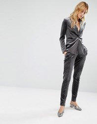 Fashion Union Velvet Suit Trouser Co Ord Grey Velvet