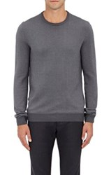Incotex Men's Houndstooth Front Virgin Wool Blend Sweater Grey