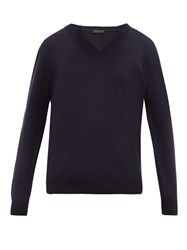 Prada V Neck Cashmere Sweater Navy