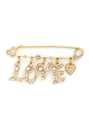 Miriam Haskell 'Love' Swarovski Crystal Glass Pearl Charm Pin White Metallic