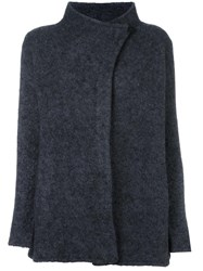 Armani Collezioni High Neck Wrap Style Coat Grey