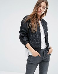 G Star Leather Look Quilted Bomber Jacket Black