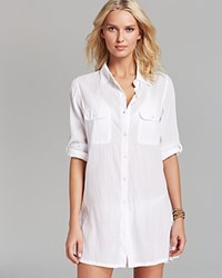 Lauren Ralph Lauren Crushed Cotton Camp Shirt Swim Cover Up White