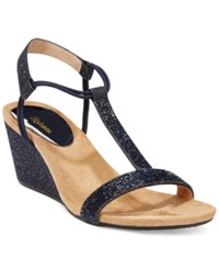 Styleandco. Style Co. Mulan2 Embellished Evening Wedge Sandals Only At Macy's Women's Shoes Navy