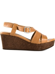 Coclico Strappy Wedge Sandals Brown