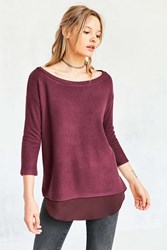 Silence And Noise Aimee Chiffon Shirttail Pullover Top Dark Purple