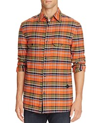Rag And Bone Hudson Flannel Plaid Button Down Shirt Orange Check