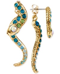 Betsey Johnson Gold Tone Pave Crystal Snake Front And Back Earrings Blue Green Multi